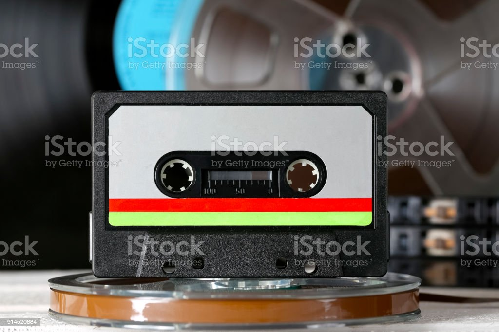 Colorful label on a compact cassette stock photo