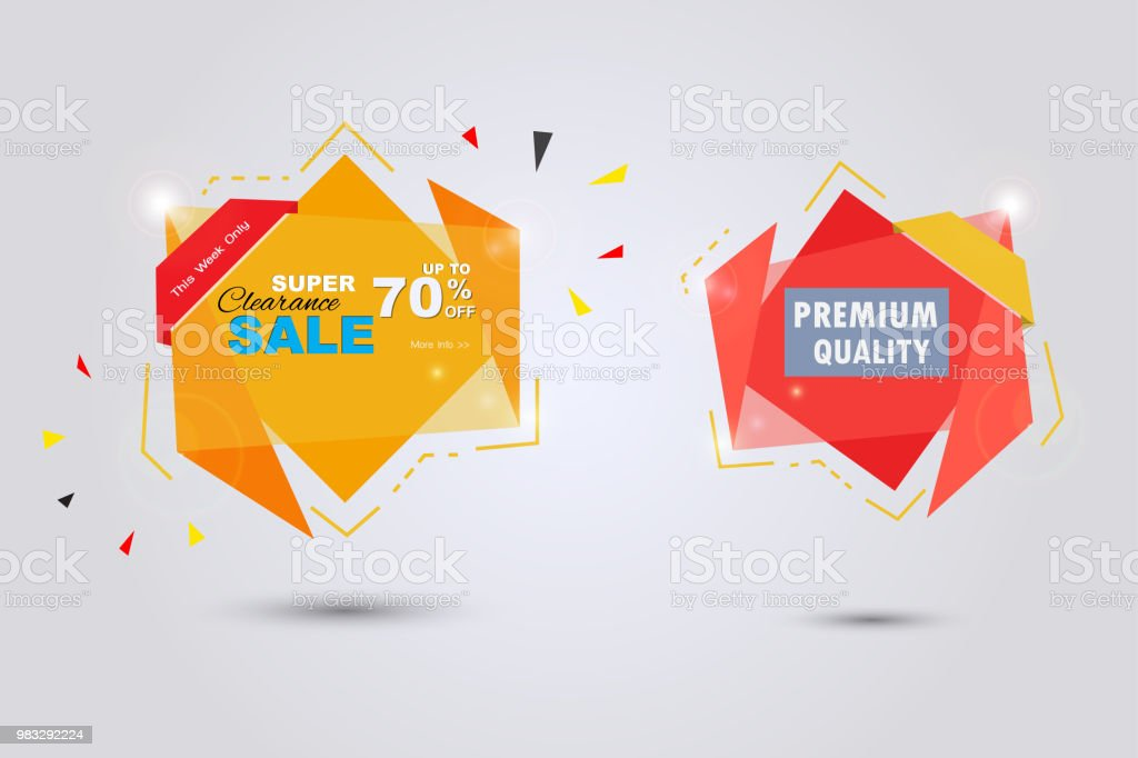 Colorful labels for super sale stock photo