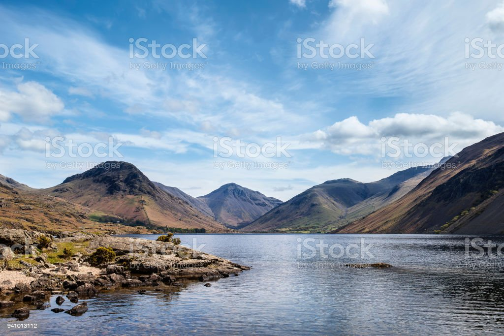 Colorful Lake District mountains landscape reflected in still lake of Wast Water stock photo