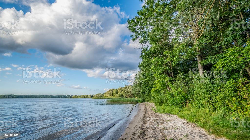 Colorful Lake River In Countryside In Summer Stock Photo