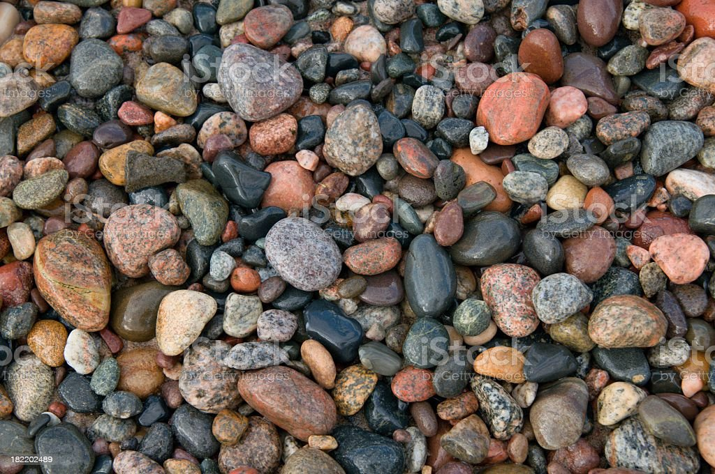 Colorful Lake Superior Pebbles at the Beach stock photo