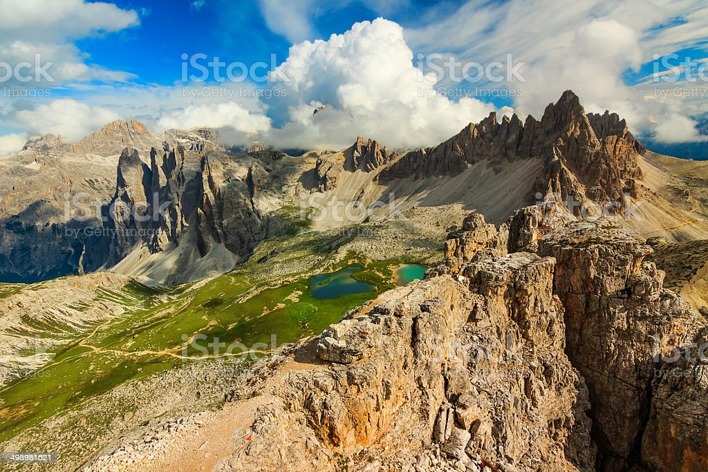 Colorful lakes and hackly mountain ridges,Monte Paterno,Dolomites,Italy stock photo