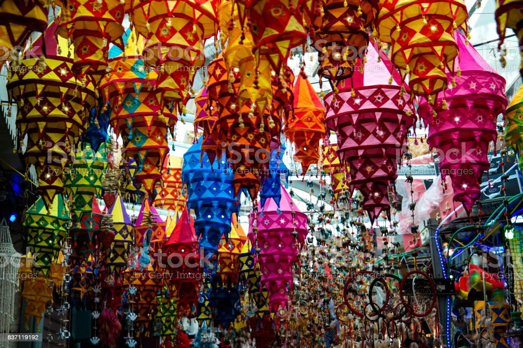 Colorful  lamps in the market stock photo
