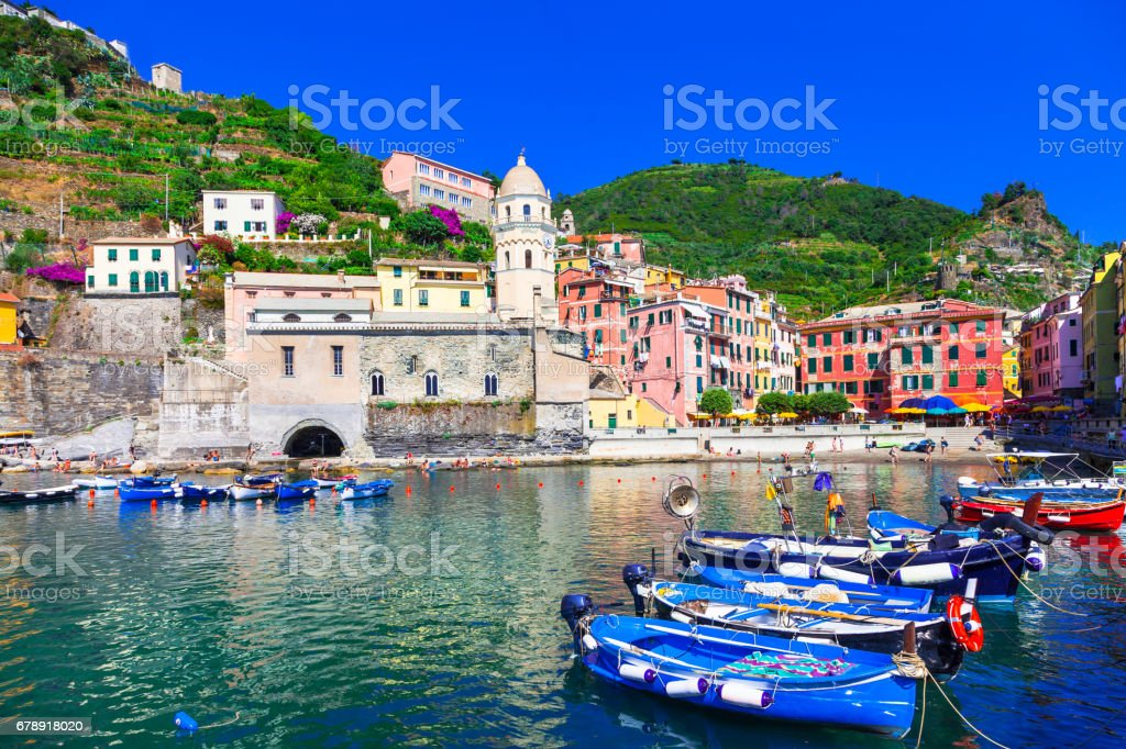 Colorful landmarks and beautiful villages of Italy - Vernazza in Cinque terre, Liguria stock photo