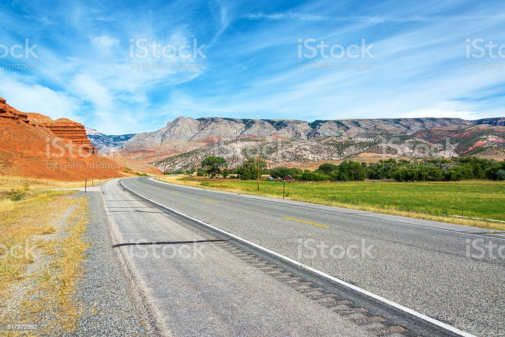Colorful Landscape and Highway stock photo