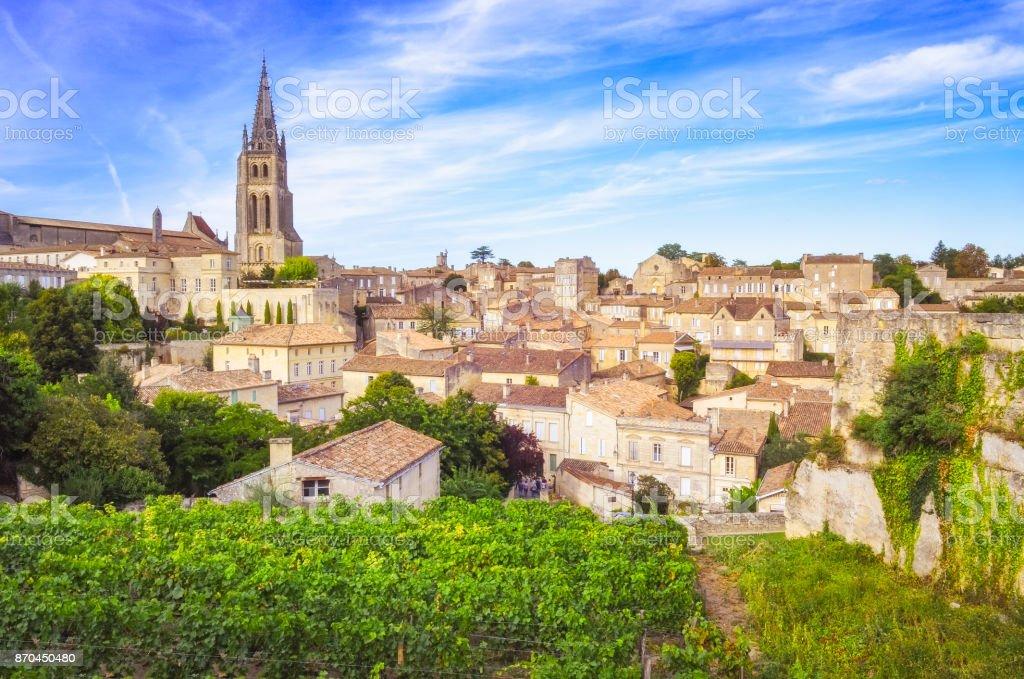 Colorful landscape view of Saint Emilion village in Bordeaux region stock photo