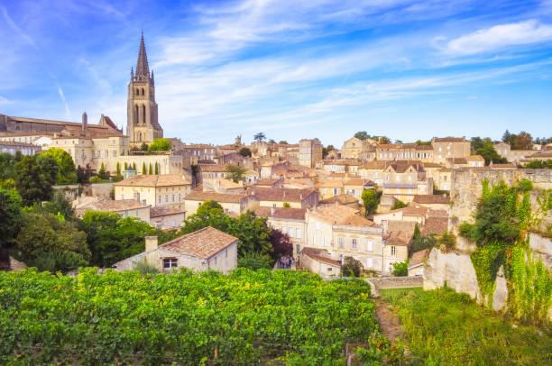 Colorful landscape view of Saint Emilion village in Bordeaux region Colorful landscape view of Saint Emilion village in Bordeaux region, France bordeaux stock pictures, royalty-free photos & images
