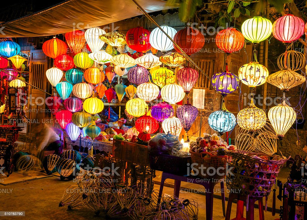 Colorful lanterns at the market street of Hoi An stock photo