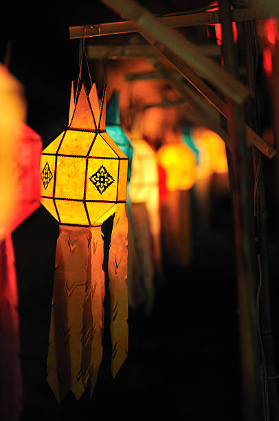 colorful lanterns in loy kratong(yee peng) festival - kratong stock photos and pictures