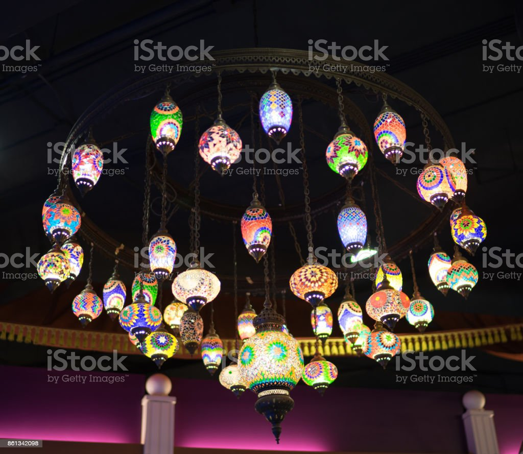 Colorful lanterns of the Arab countries. stock photo
