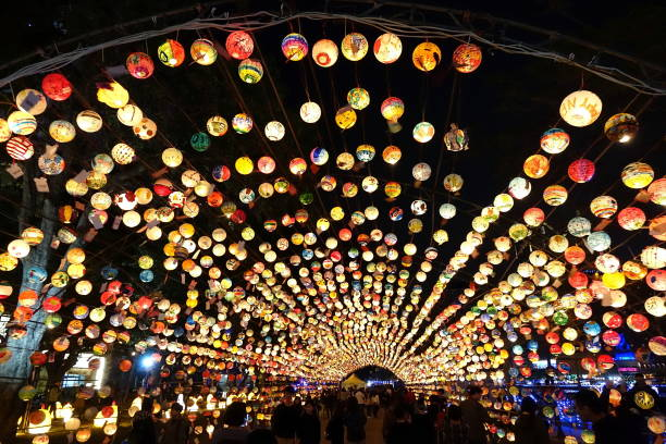 Colorful lanterns welcome the Chinese year of the Rooster stock photo