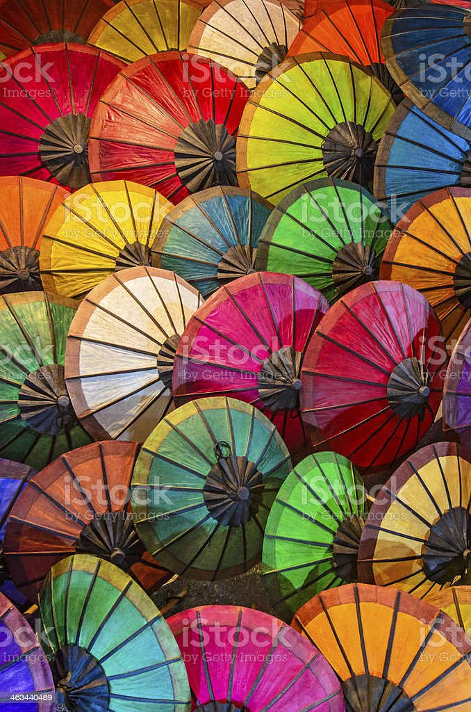 Colorful Laos parasols stock photo