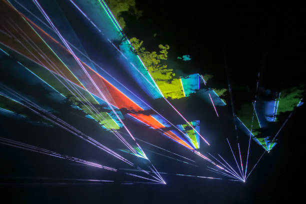 Colorful laser show stock photo