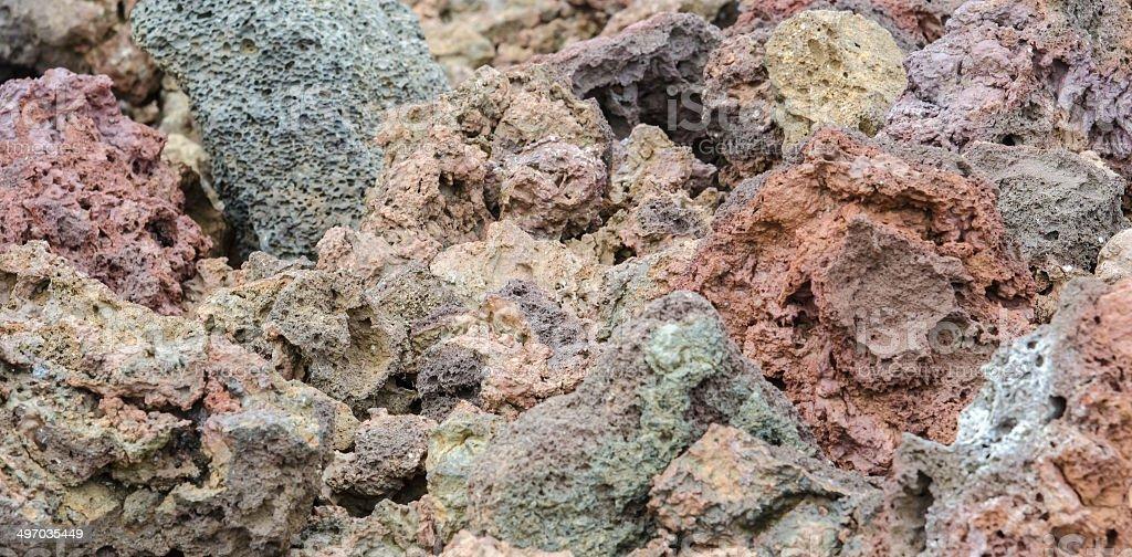 Colorful lava rocks at Elborgarhraun lava field in Iceland stock photo