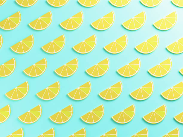 colorful lemon food background - flat design stock photos and pictures