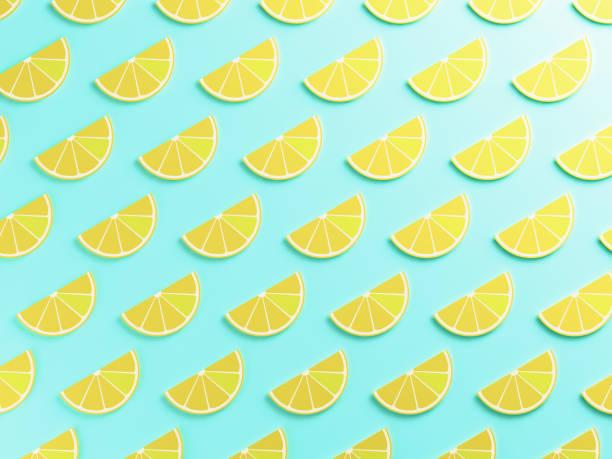 contexte alimentaire citron coloré - design plat photos et images de collection