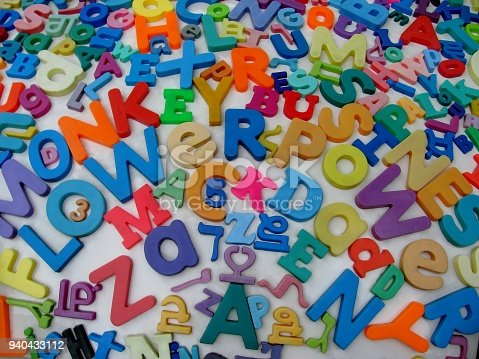 Colorful letters and numbers. English, Hebrew and Punjabi alphabets