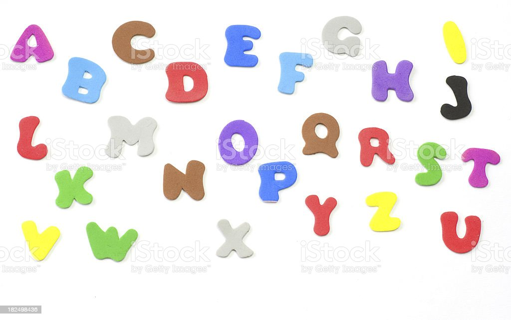 colorful letters - whole alphabeth before white background stock photo