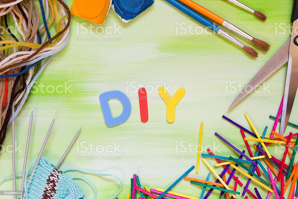 Colorful letters with craft supplies word diy do it yourself stock colorful letters with craft supplies word diy do it yourself royalty free stock solutioingenieria Gallery