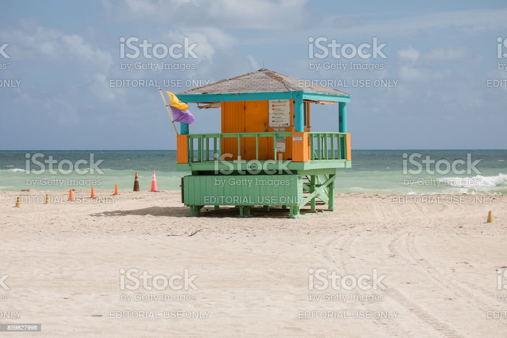 Colorful lifeguard tower at South Beach stock photo