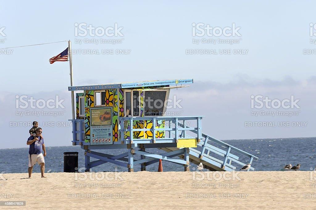 Colorful lifegurd tower in Malibu stock photo