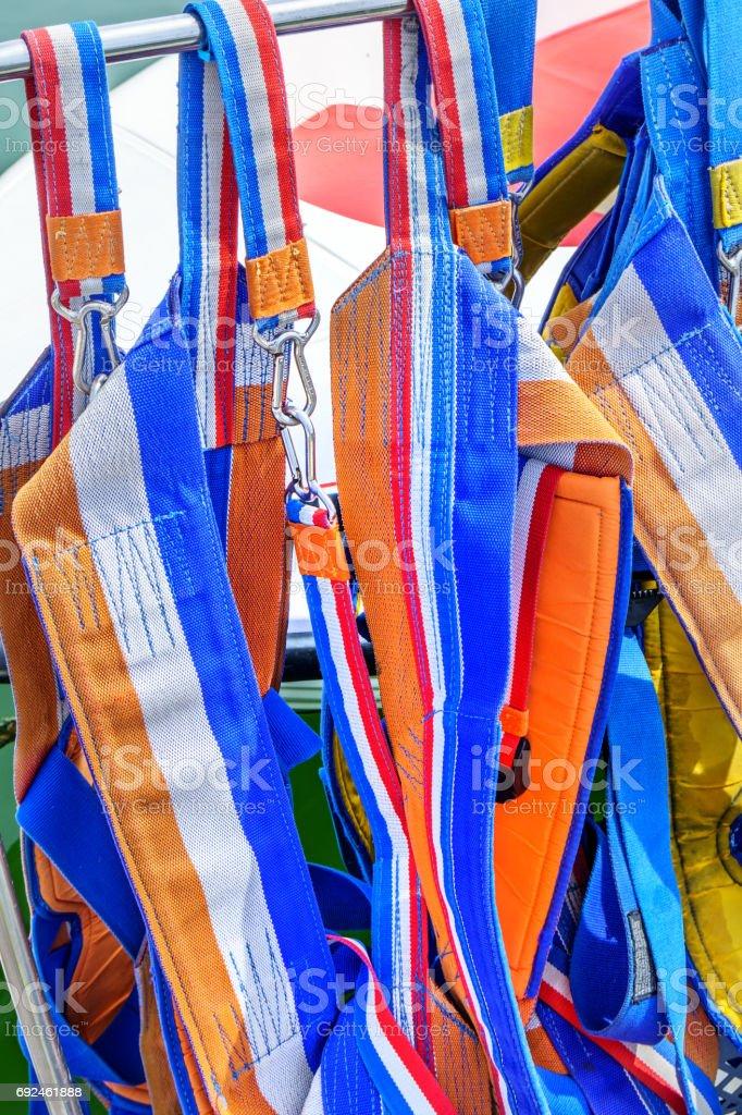 Colorful lifejackets stock photo
