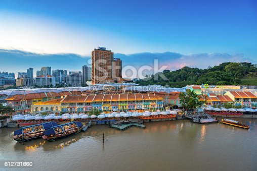 1097482486 istock photo Colorful light building at night in Clarke Quay Singapore 612731660