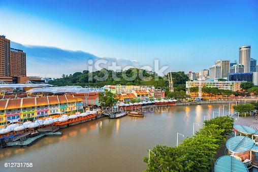 1097482486 istock photo Colorful light building at night in Clarke Quay Singapore 612731758