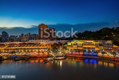 1097482486 istock photo Colorful light building at night in Clarke Quay Singapore 612731950