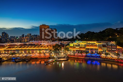 1097482486 istock photo Colorful light building at night in Clarke Quay Singapore 612732020