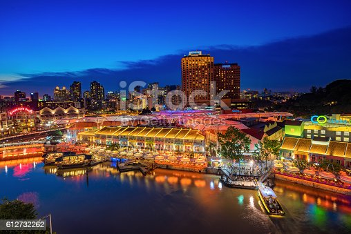 1097482486 istock photo Colorful light building at night in Clarke Quay Singapore 612732262