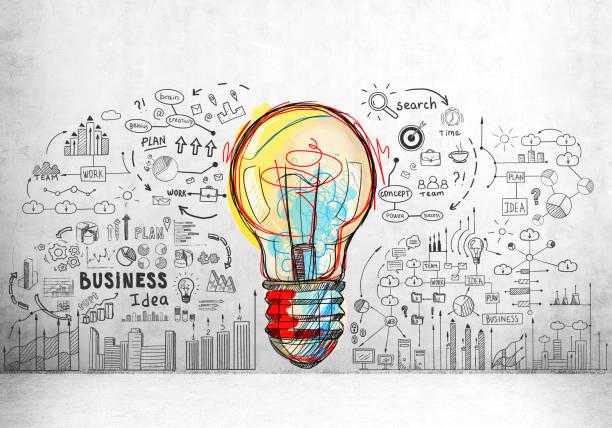 красочные лампочки и бизнес-иконки - понятия и темы стоковые фото и изображения