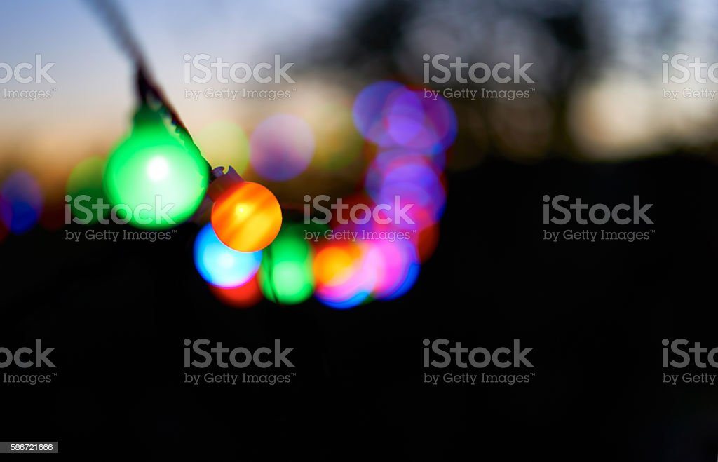 Colorful lightbulbs at a Party stock photo