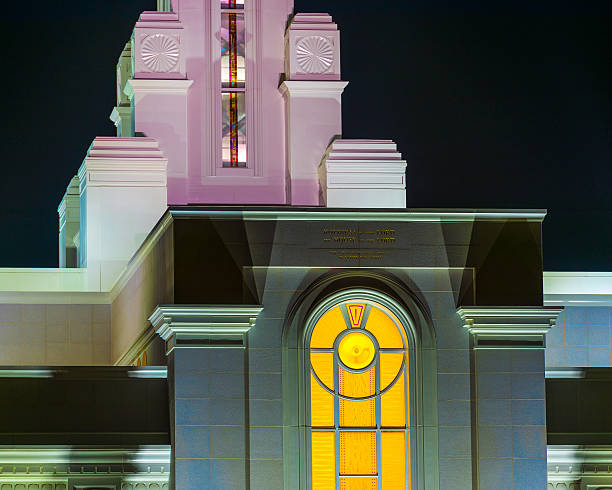 Colorful Lighted LDS Temple stock photo