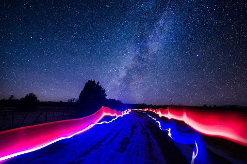 Colorful Lights and Milky Way Galaxy - Patterns and streaks of light and scenic astrophotography landscape.