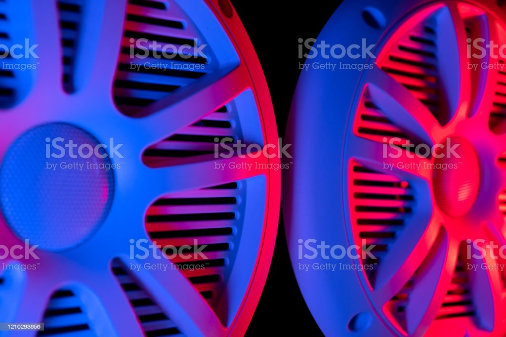 Colorful Lights Of Car Stereo And Car Speakers Background Car Music Audio Speaker In Blue And Pink Tones Modern Car Audio System Close Up Stock Photo Download Image Now Istock
