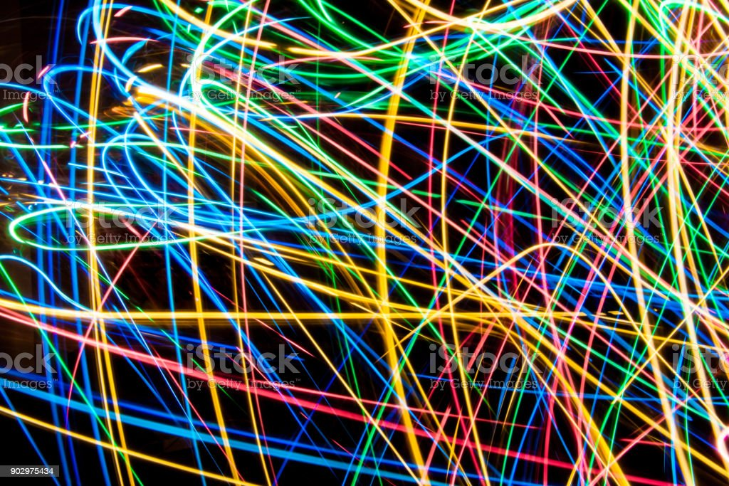 Colorful lights on the long exposure with motion background, Abstract...