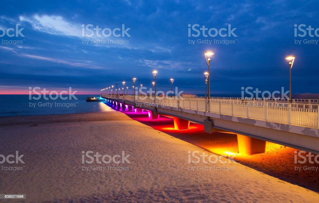 Colorful lights on the pier in the evening, Kolobrzeg, Poland – zdjęcie