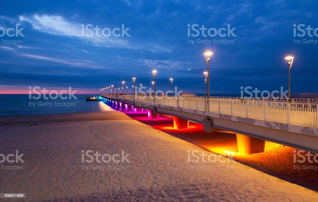 Colorful lights on the pier in the evening, Kolobrzeg, Poland – zdjęcie