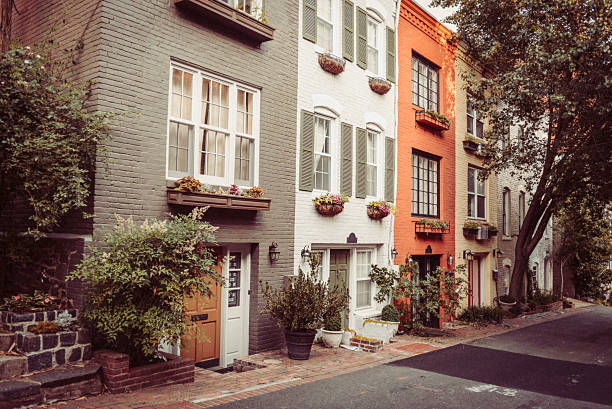 Colorful line of townhouses in Georgetown, Washington DC stock photo