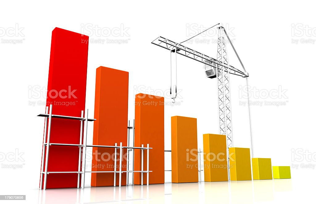 A colorful linear graph decreasing with a crane royalty-free stock photo