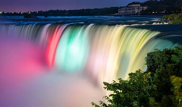 Colorful Lit Niagara Falls stock photo