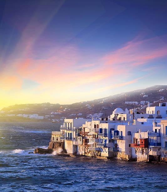 Colorful Little Venice of Mykonos island at  sunset , Greece stock photo
