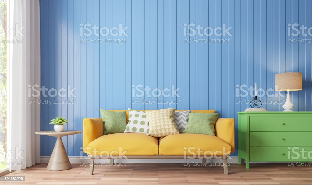 Colorful living room 3d rendering image stock photo
