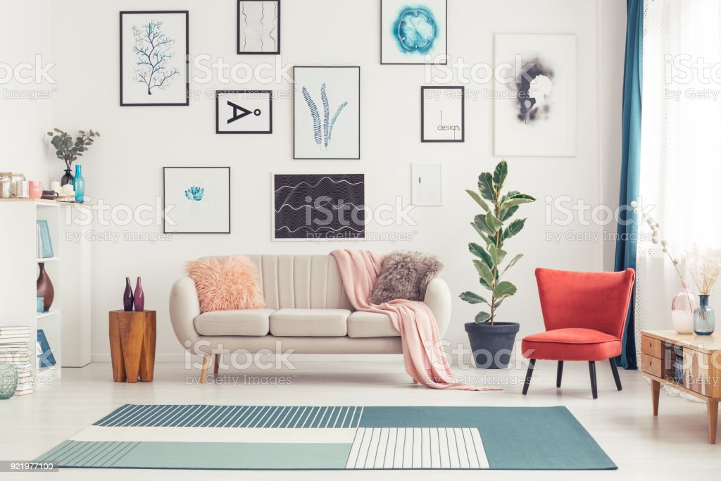 Colorful living room interior stock photo