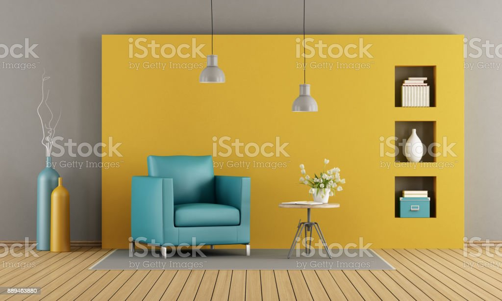Colorful living room stock photo