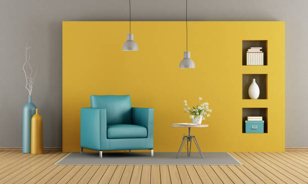 colorful living room - yellow stock photos and pictures