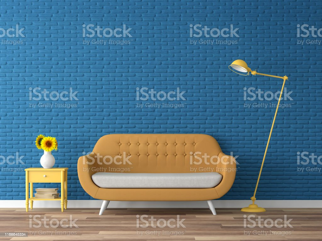 Colorful living room with empty blue brick wall 3d render Colorful living room 3d render,There are wood floor,navy blue empty brick wall,decorate with yellow fabric sofa Apartment Stock Photo