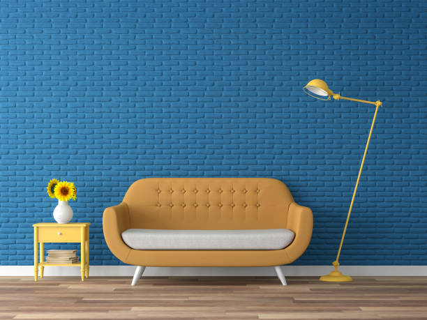 Colorful living room with empty blue brick wall 3d render stock photo