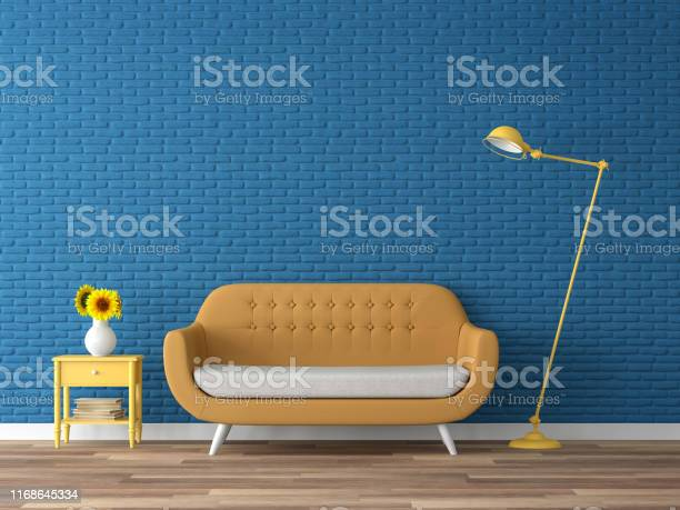 Colorful Living Room With Empty Blue Brick Wall 3d Render Stock Photo - Download Image Now